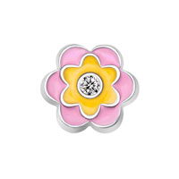 KSEB SHEB Items - jewelry floating memory living locket charms pink yellow clear crystal flower Image.