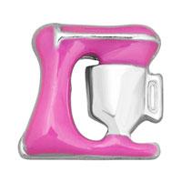 KSEB SHEB Items - jewelry floating living locket charms rose pink enamel sewing machine Image.