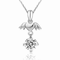 Sterling Silver - new 925  sterling silver angel' s wings shiny crystal fashion necklace pendant sterling silver pendant Image.