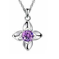 Sterling Silver - womens 925  sterling silver purple crystal four leaf clover necklace pendant sterling silver pendant Image.