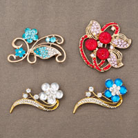 4  Pcs Vintage Gold Tone Flower Rhinestone Crystal Wholesale Lots Brooches Pins