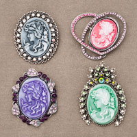 4  Pcs Wholesale Blue Cameo Lady Portrait Victorian Crystal Brooches Pins Lots