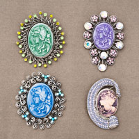 4  Pcs Cameo Brooch Pin Charm Classic Antique Vintage Bronze Tone Oval