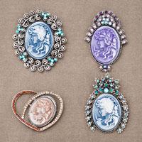 4  Pcs Rhinestone Crystals Royal Blue Cameo Brooch Pin Pendant Floral Victorian
