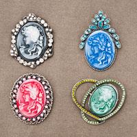 4  Pcs Vintage Victorian Design Queen Lady Cameo Black Enamel Bronze Brooch Pin