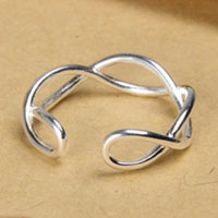 Rings - 925  sterling silver vintage wave infinity womens opening statement ring Image.