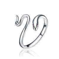 Rings - 925  sterling silver snake opening ring adjustable crystal rhinestone tail ring Image.