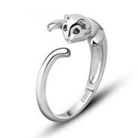 Rings - 925  sterling silver lovely cute cat rings womens lady tail finger fashion ring Image.