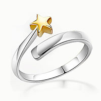 Rings - 925  sterling silver cute korean star rose gold plated open fashion finger ring Image.