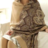 KSEB SHEB Items - women fringed ethnic yellow winter long big thick scarf wrap tassel shawl stole Image.