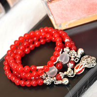 Bracelets - red agate beads silver p crystal dangle multilayer statement charms bracelet Image.