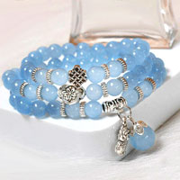 Bracelets - vintage blue multilayer beads silver/ p celtic knot charms bracelet Image.