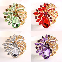 New Vintage Rhinestone Drop Stone Crystal Flower Leaf Pin Brooch
