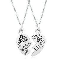 Charms Beads - 2  pcs heart shape big sister fit necklace beads charms bracelets all brands Image.
