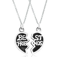Charms Beads - 2  pcs heart shape best friends fit necklace beads charms bracelets all brands Image.