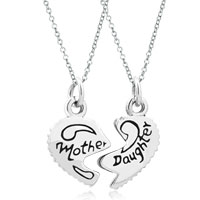 Charms Beads - 2  pcs heart shape mother daughter fit necklace beads charms bracelets all brands Image.