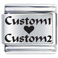 L_AA0003: custom heart love italian charm bracelet laser italian charm Image.