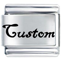 L_AA0033: custom words phrases italian charm bracelet laser italian charm Image.