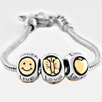 European Beads - gold plated butterfly smiley face live love laugh heart lobster clasp fits beads charms bracelets fit all brands Image.