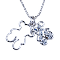 Necklace & Pendants - bear clear crystal sterling silver pendant necklace Image.
