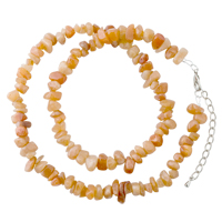 Necklaces - chip stone necklaces topaz yellow genuine aragonite stone chips necklace Image.