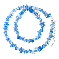 Necklaces - chip stone necklaces blue white genuine aragonite stone chips necklace Image.