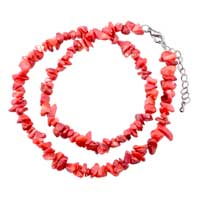 Necklaces - cherry quartz chip stone necklaces light red genuine aragonite stone chips necklace Image.