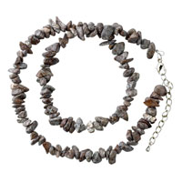 Necklaces - chip stone necklaces smokey quartz genuine stone aragonite chips necklace Image.
