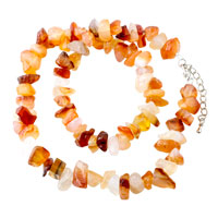 Necklaces - carnelian chip stone necklaces aragonite stone chips necklace for women Image.