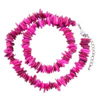 Necklaces - chip stone necklaces bright pink genuine stone chips necklace Image.