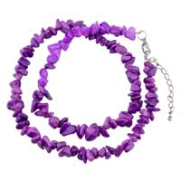 Necklace & Pendants - chip stone necklaces amethyst purple genuine aragonite stone chips necklace Image.