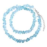 Necklaces - chip stone necklaces aquamarine blue genuine aragonite crystal stone chips necklace Image.