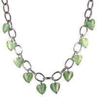 Murano Glass Jewelry - green seasonal multi heart dangle murano glass pendant necklace Image.