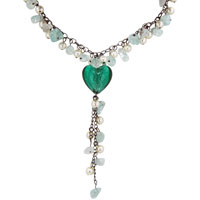 Murano Glass Jewelry - turquoise heart dangle chip stone murano glass pendant necklace Image.