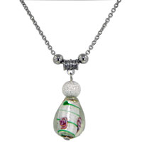 relation - ice teardrop off shoulder murano glass pendant necklace Image.
