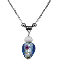 relation - blue teardrop color pendants murano glass necklace Image.