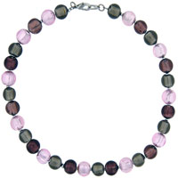 Murano Glass Jewelry - rose pink crystal beaded fashion bridal necklaces pendant Image.