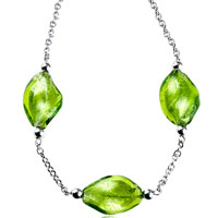 Murano Glass Jewelry - green leaf murano glass necklaces pendant Image.