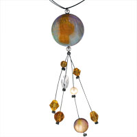 Clearance Jewelry - tahitian round pearl acrylic murano glass necklaces pendant Image.
