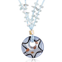 Murano Glass Jewelry - beaded baby blue pendant murano glass necklace Image.