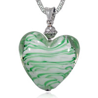 Necklaces - white and green striped heart murano glass pendant necklace Image.