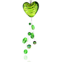 relation - green heart with black stripes murano glass pendant Image.