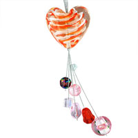 Necklaces - orange stripes heart multi dangles necklace pendant murano glass beads charms bracelets fit all brands Image.