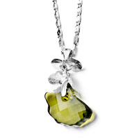 Necklaces - green brown crystal pendant necklace Image.
