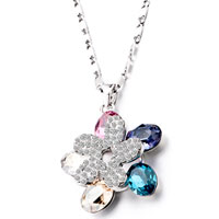 Necklaces - dangle corlorful flower shaped crystal pendant necklace Image.