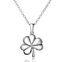 Necklaces - fashion silver plated clover pendant necklace with chain d 07 Image.