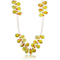 Murano Glass Jewelry - red and yellow murano glass lampwork teardrop necklace pendant Image.