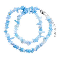 Necklace & Pendants - chip stone necklaces genuine light blue semi precious gemstone nugget chips stretch pendant necklace Image.