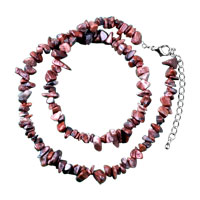 Necklace & Pendants - chip stone necklaces genuine brick red semi precious gemstone nugget chips stretch necklace Image.