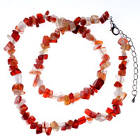 Necklace & Pendants - chip stone necklaces genuine coral light red semi precious gemstone nugget chips stretch necklace Image.
